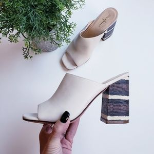 Cole Haan leather snakeskin heel open toe mules